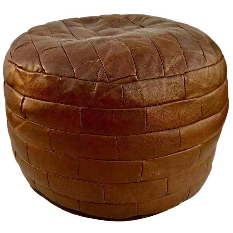 De Sede Brown Patchwork Leather Ottoman For Sale