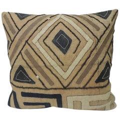 Vintage Tan and Black Raffia Appliqué Kuba Decorative Pillow