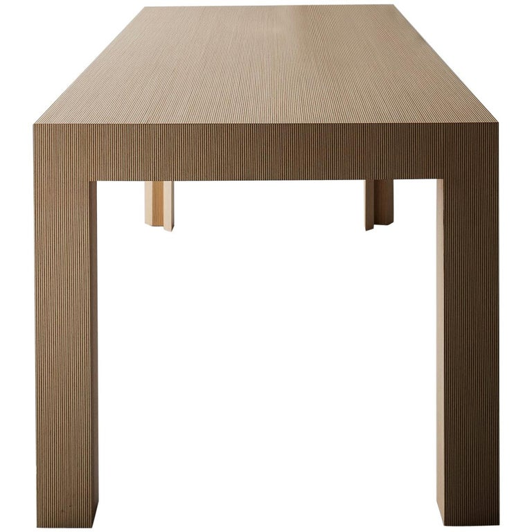 Contemporary Striped Pattern Wood Table by Sebastiano Bottos, Italia For Sale