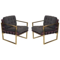 Pair of Midcentury Brass and Fabric Italian Armchairs, 1950