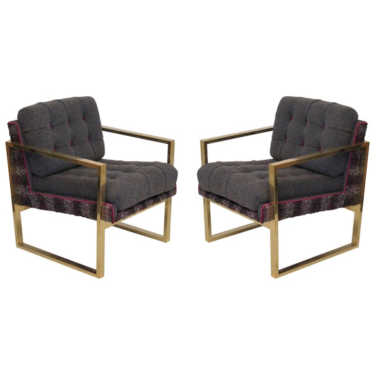 Pair of Midcentury Brass and Fabric Italian Armchairs, 1950 For Sale