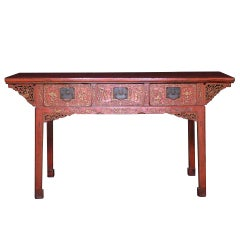 19th Century, Chinese Lacquered Console Painting Table