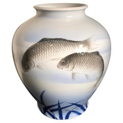 Japanese Antique Koi and Bamboo Vase Hand Painted, Early 20th Century