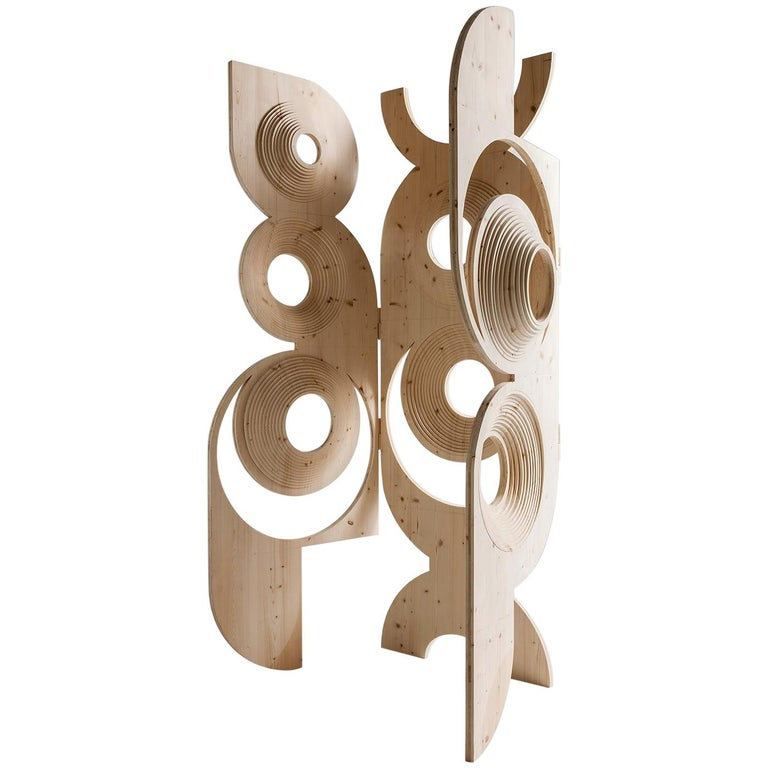 Contemporary Sculptural Wood Room Divider by Sebastiano Bottos, Italia For Sale