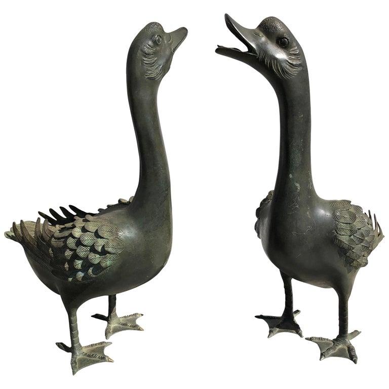 Japan Antique Large Hand Cast Pair Bronze Garden Ducks, Beautiful Details For Sale