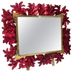 Murano Red Glass and Brass Midcentury Mirror, 1970
