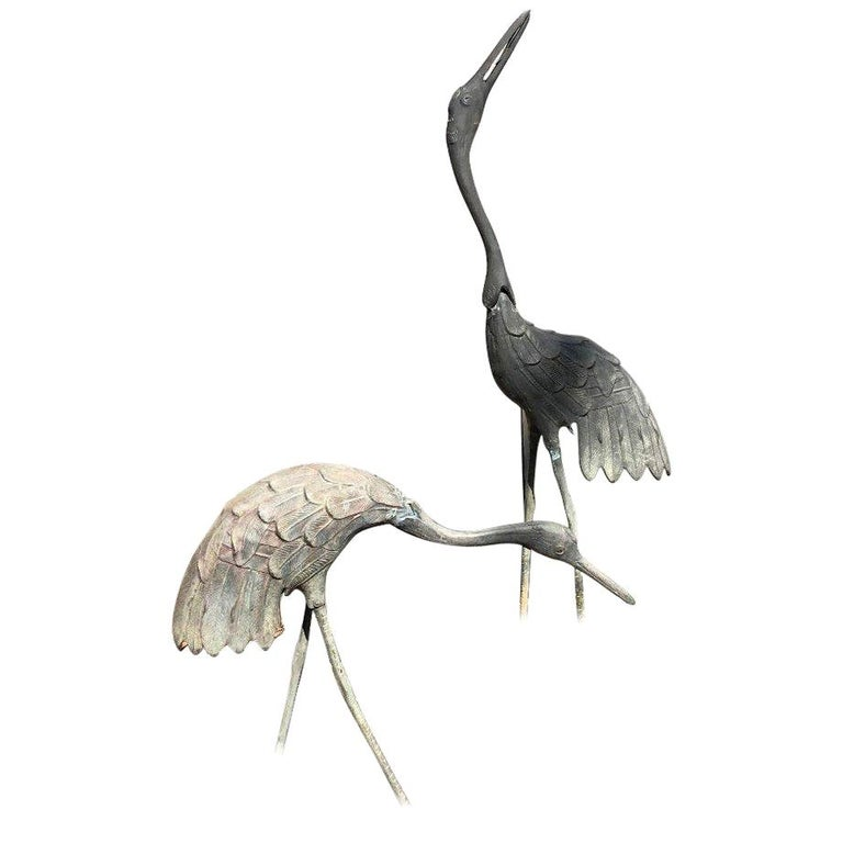 Japan Pair of Hand Cast Bronze Cranes Beautiful Head and Feather Details For Sale
