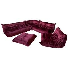 Burgundy Velvet Togo Sofa Set by Michel Ducaroy for Ligne Roset, 1970s, Set of 5