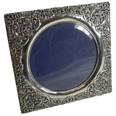 Large Antique English Sterling Silver Picture Frame, 1905 by Henry Matthews