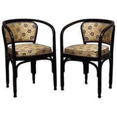 G.Siegel / J&J Kohn Black Beechwood and Flowery Silk Austrian Chair Pair, 1910