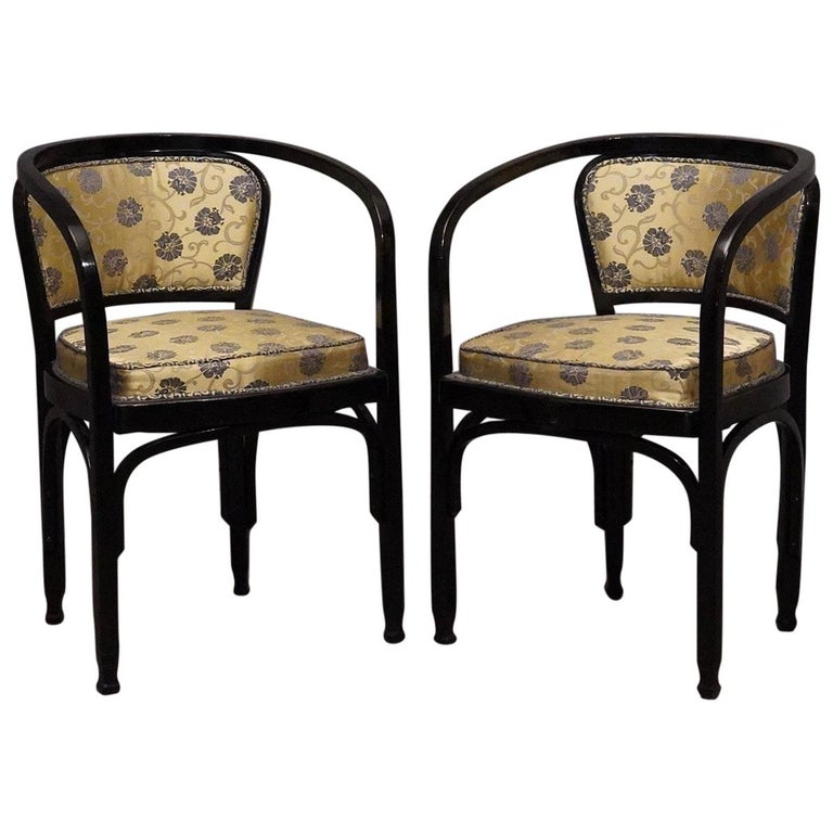 G Siegel J J Kohn Black Beechwood And Flowery Silk Austrian Chair