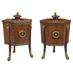 Rare Pair of Late George III Mahogany Wine Coolers or Cellarettes, circa 1810