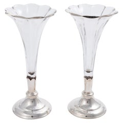 Pair of English Silver Plate Vases, circa 1930s