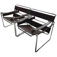 Pair of Rare Brown Leather Wassily B3 Chairs by Marcel Breuer for Gavina, 1980s