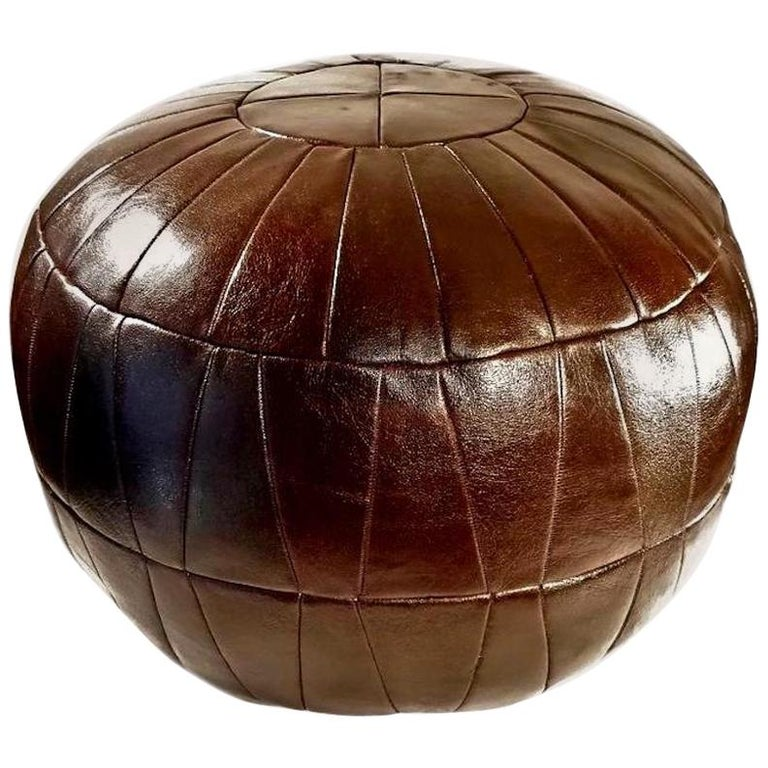 De Sede Patchwork Brown Leather Ottoman For Sale