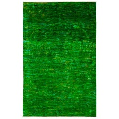 One-of-a-Kind Colorful Wool Hand-Knotted Area Rug, Emerald, 5' 10 x 9' 3