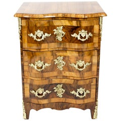 18th Century Baroque Walnut Pillar Chest of Drawers from Dresden, Germany