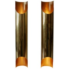 Set of Two Monumental Mid-Century Modern Brass Wall Lamps or Sconces, 1960s