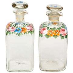 Continental Antique Floral Enamelled Glass Decanters, 19th Century