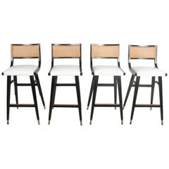 Two Sets of Four Midcentury Bar Stools