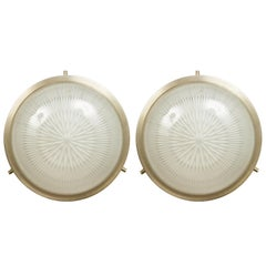 Pair of 1960s Sergio Mazza Petite 'Sigma' Wall or Ceiling Lights for Artemide