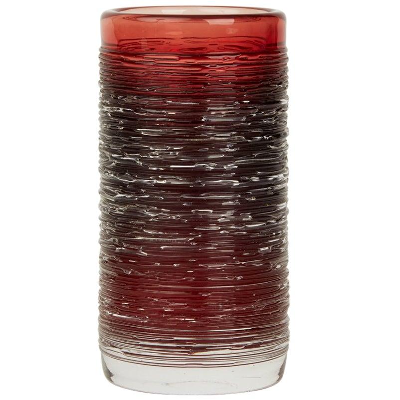 Vintage Scandinavian / Swedish Bengt Edenfalk Skruf Red Spun Glass Vase, 1960s