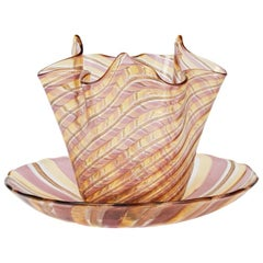 Venetian Glass Linea Valentina Handkerchief Bowl and Stand