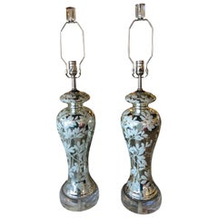 Pair of Table Lamps Silver Mercury Glass Chinoiserie Floral Lucite Chrome