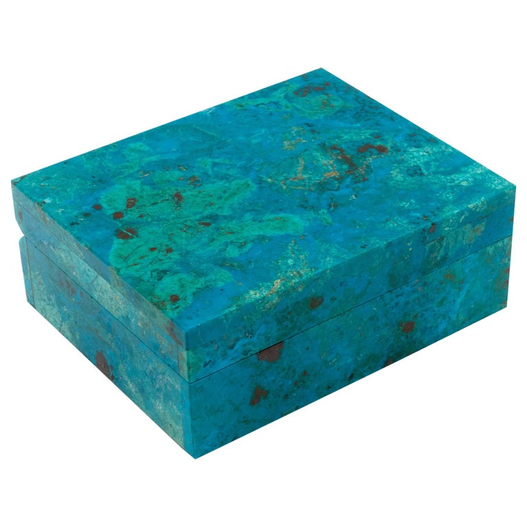 Chrysocolla Box with Hinged Lid For Sale