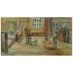 Edvard Munch La Boheme Ink and Watercolor Drawing
