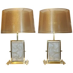 1990s Modern Italian Pair of One of a Kind Crystal & Brass Lamps