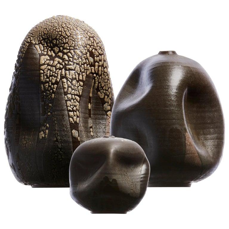 Wabi Sabi Black Contemporary Ceramic Vase, Interior Sculpture, Handmade Vessel For Sale
