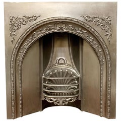 19th Century Mid-Victorian Cast Iron Arched Fireplace Insert
