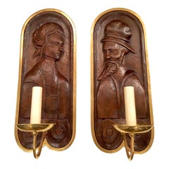 Pair of Carved Wood and Brass Sconces
