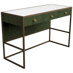 Eros Desk in Antique Bronze & Atena Armchair in Walnut Both in Green Shades