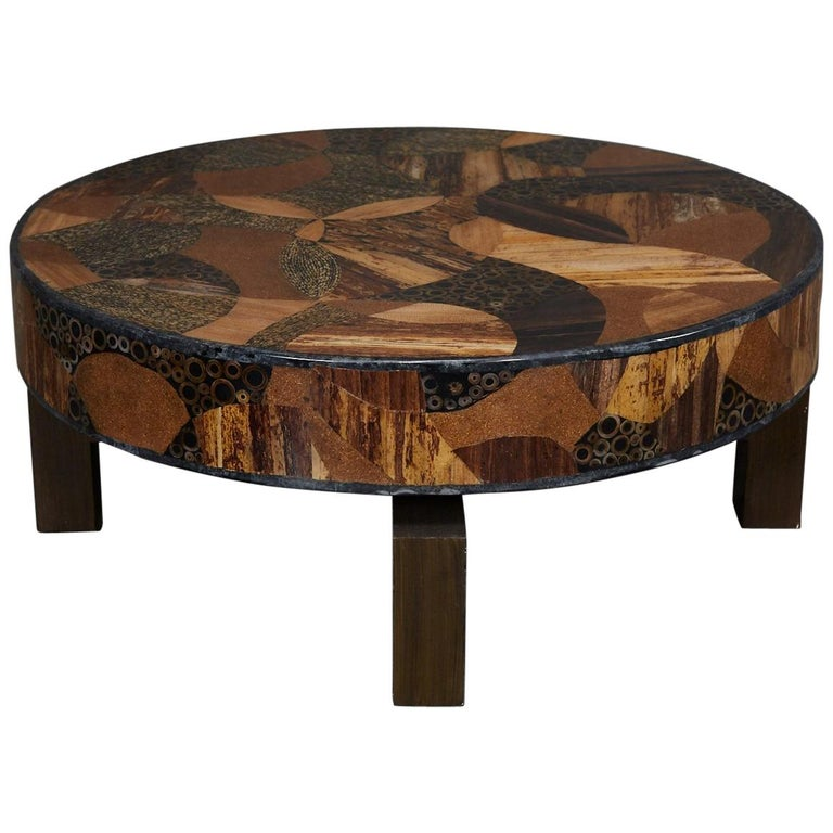 """Exotic Glass Coffee Tables: Round """"Carnival"""" Coffee Table With Exotic Natural Inlay"""