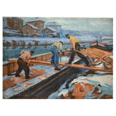"Ossy de Perelma ""Loading A Houseboat In Winter"" Signed Oil on Canvas, 1922"
