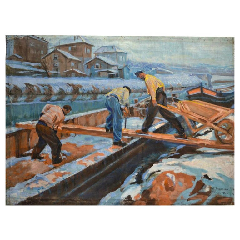 """Ossy de Perelma """"Loading A Houseboat In Winter"""" Signed Oil on Canvas, 1922 For Sale"""