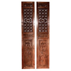 Pair of Chinese Elm and Cypress Carved Door Panels