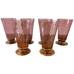 Salviati Set Six Hand Blown Venetian Murano Glass Water Goblets Glasses, Italy