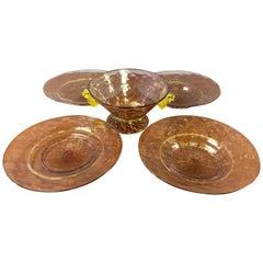Set of Five Salviati Hand Blown Italian Murano Glass Bowl and Saucers, 1920s