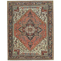 Antique Hand Knotted Persian Heriz Rug