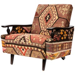 Vintage Lounge Chair Newly Upholstered in a Vintage Wool Kilim Rug