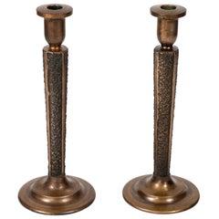 Pair of Midcentury Bronze 'Brutalist' Candlesticks
