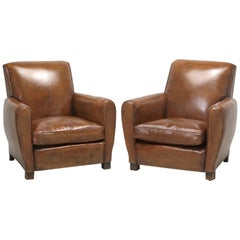 French Leather Club Chairs, Completely Restored from the Frame Up