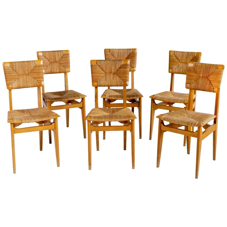 Set of 6 Chairs Model C Marcel Gascoin, France, 1950 For Sale