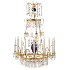 Russian 19th Century Neo-Classical Style Glass, Crystal and Ormolu Chandelier