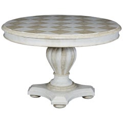 Round Pedestal Base Tessellated Stone Dining Table with Checkered Top, 1990s
