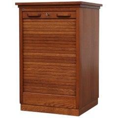 Short Oak File Cabinet by Eeka with Tambour Door