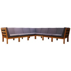 Large Modular Sofa GE 280 by Hans J. Wegner for GETAMA Oak Blue Grey